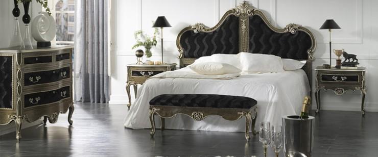 luxury bedroom design black velve and silver bedt