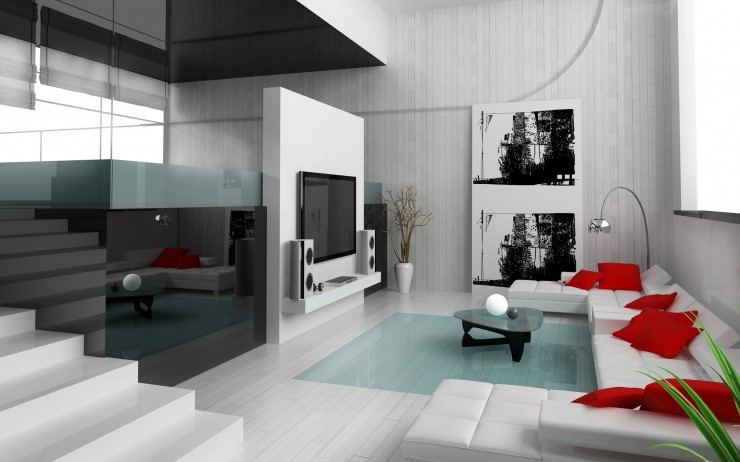 white minimalist living room with red touches