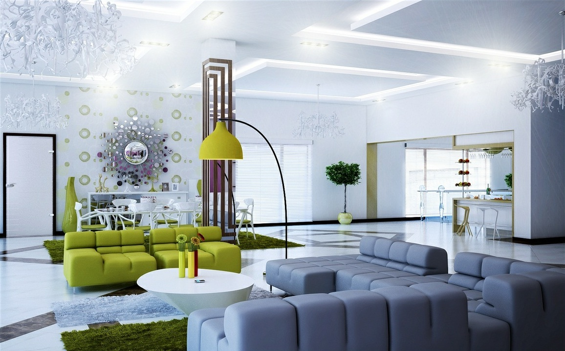 Modern green living room colors - Grey And Green Minimalism Living Room