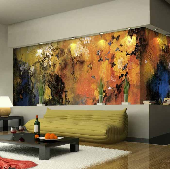 living room with nature inspired wall mural. Black Bedroom Furniture Sets. Home Design Ideas