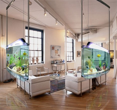 25 rooms with stunning aquariums decoholic for Fish tank bedroom ideas