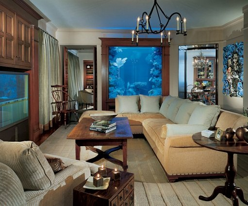 Genial Living Room With Eight Foot Tall Saltwater Aquarium