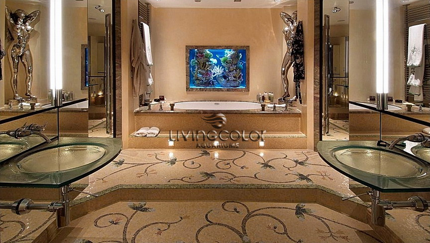 25 rooms with stunning aquariums decoholic. Black Bedroom Furniture Sets. Home Design Ideas