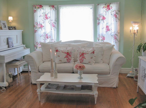 shabby chic living room with pink flowers