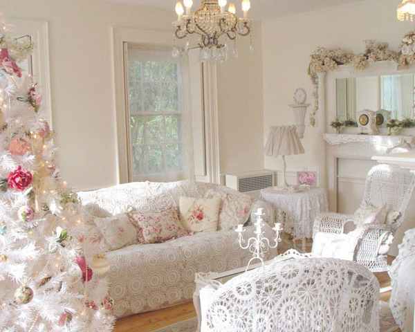 shabby chic vintage living room with Christmas tree