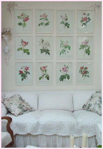 shabby chic vintage living room with flowers