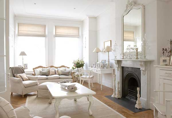 shabby chic bright white country living room