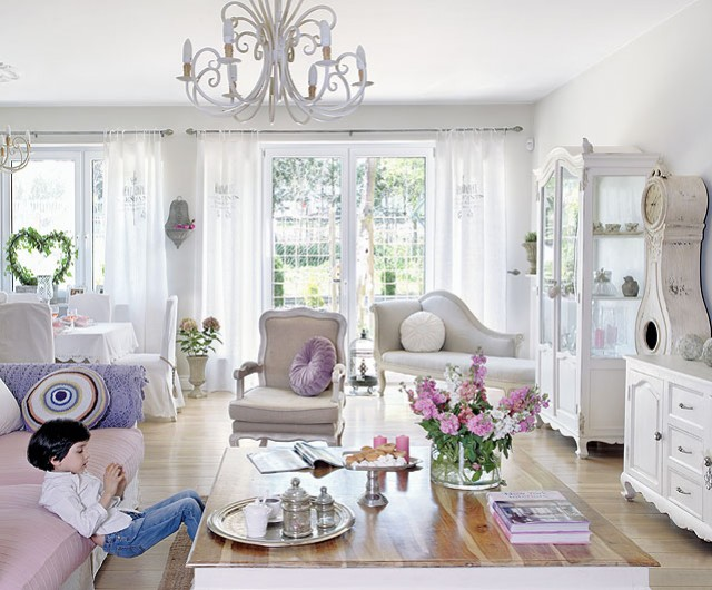 Fascinating White Pink Living Room