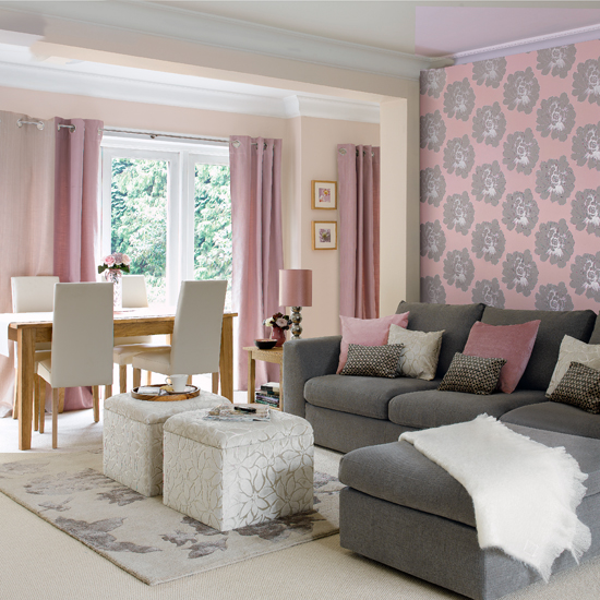 gray and pink colors in home decor