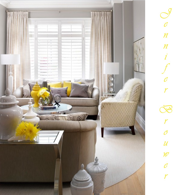yellow beige and gray colors in a living room
