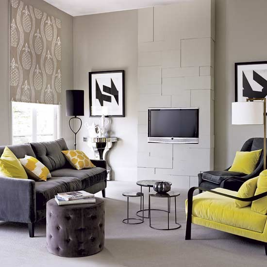 grey room with tv