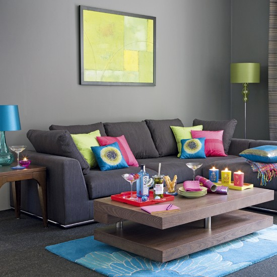 69 fabulous gray living room designs to inspire you for Bright coloured living room ideas