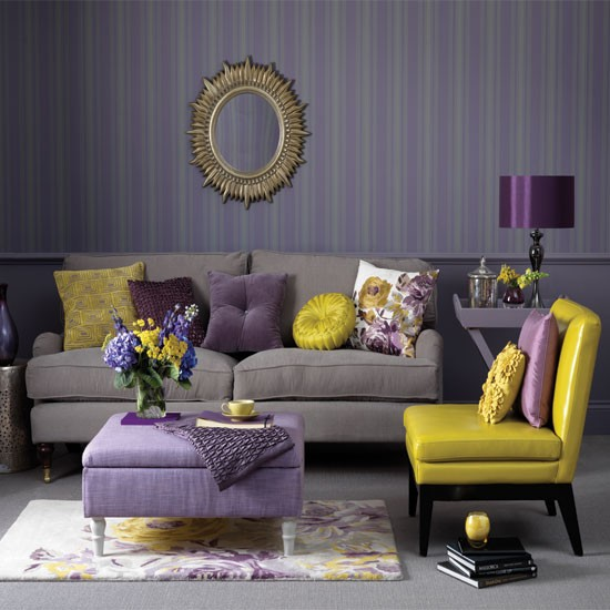 purple and yellow accent colors