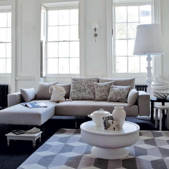 69 fabulous gray living room designs to inspire you for Black and grey couch