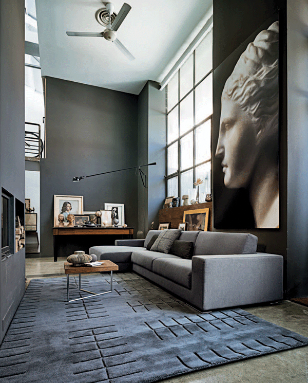 69 fabulous gray living room designs to inspire you for Black grey interior design