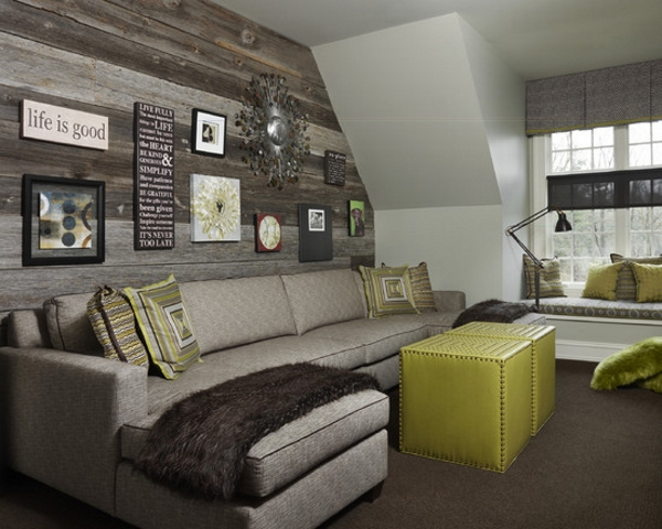 decorative gray wall and shades of gray in a living room