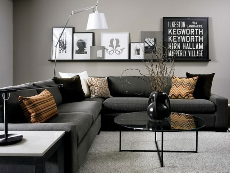 interior painting idea using gray as the base color with highlight
