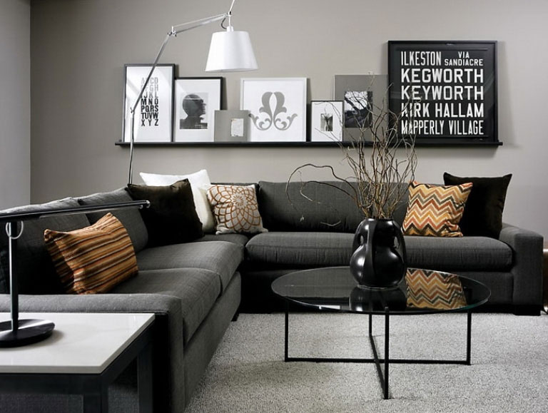 69 fabulous gray living room designs to inspire you - Wall decoration ideas for living room ...