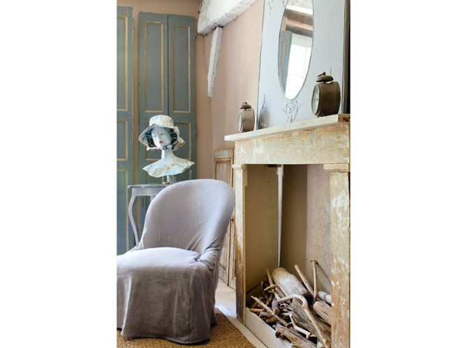 fake french decorating fireplace