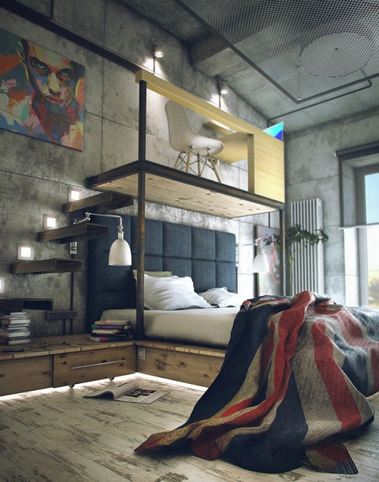 industrial bedroom with loft office