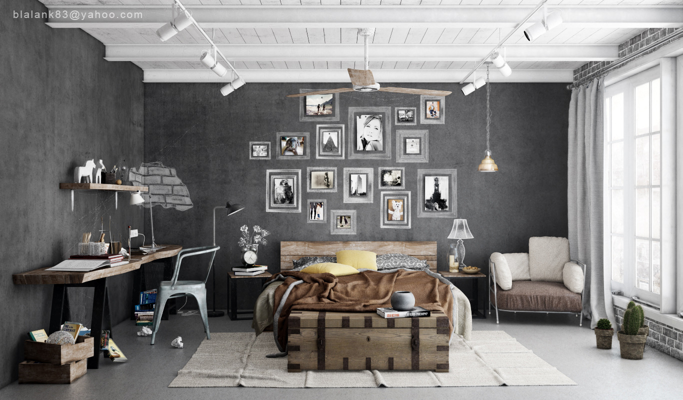 Charming Industrial Bedroom Design 3
