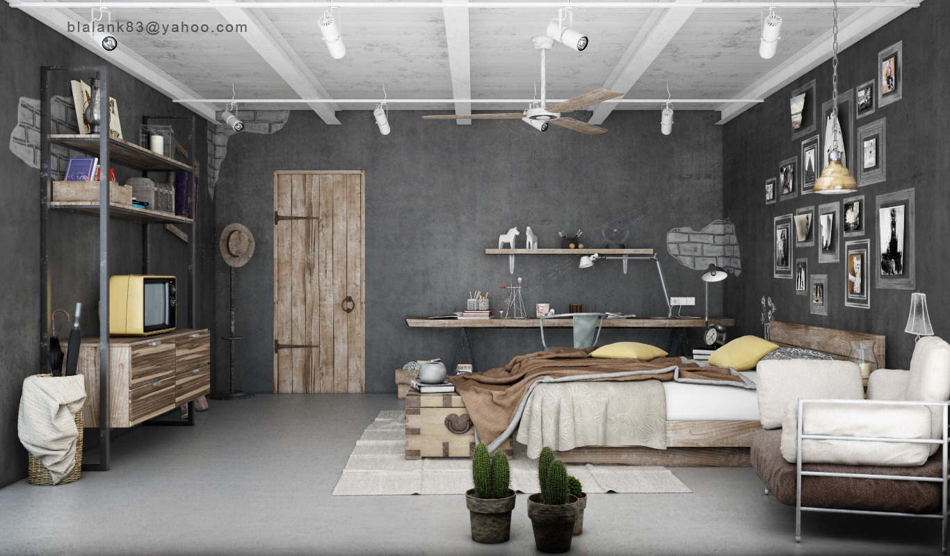industrial bedroom design 4 - Industrial Interior Design Ideas