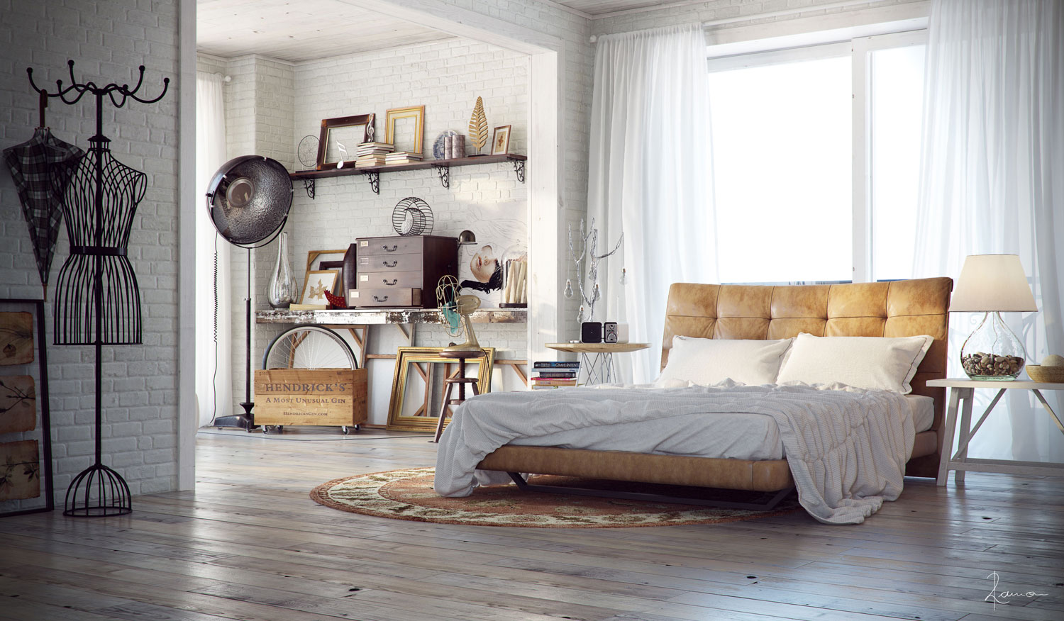 21 industrial bedroom designs decoholic - Cortinas vintage dormitorio ...