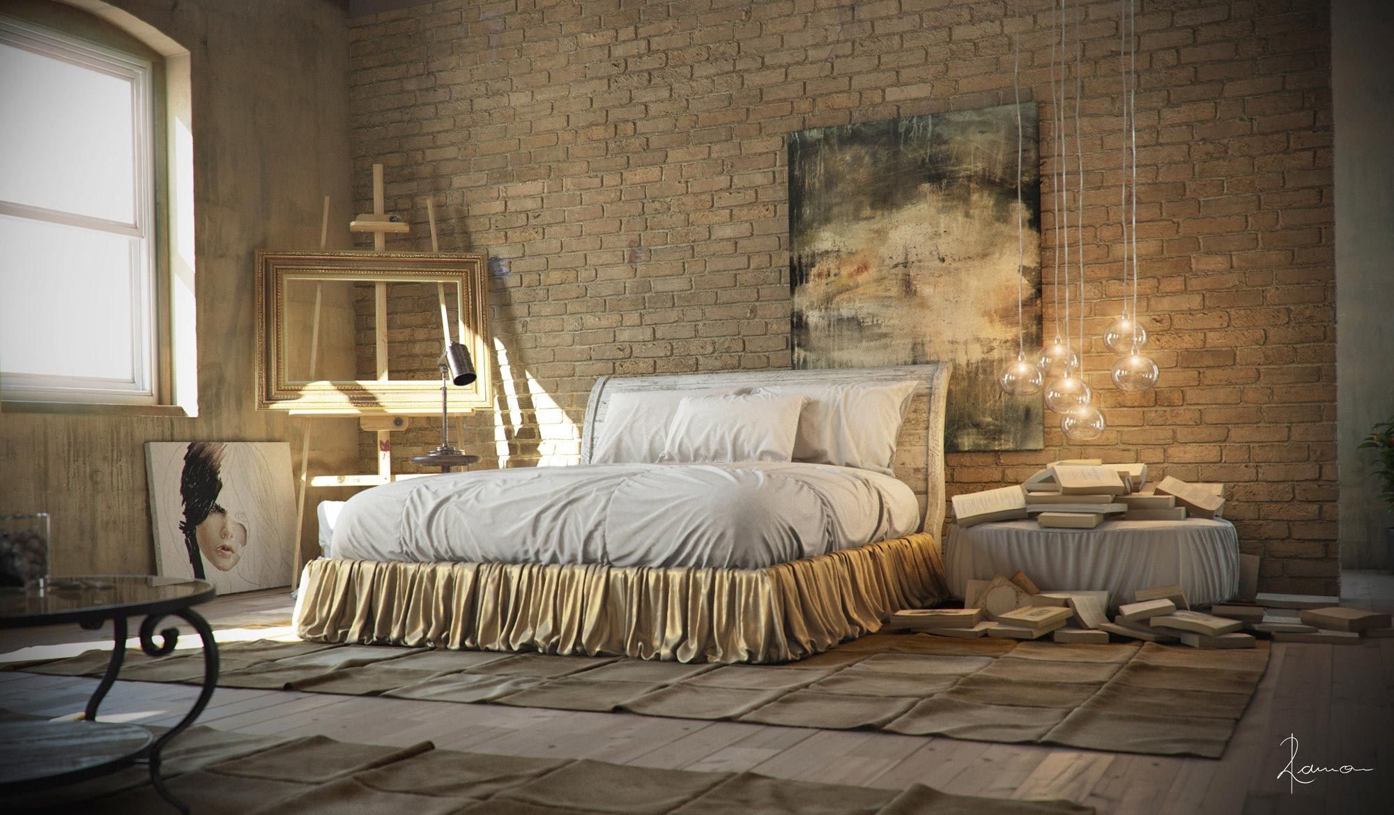 21 industrial bedroom designs decoholic for Bedroom ideas hanging pictures