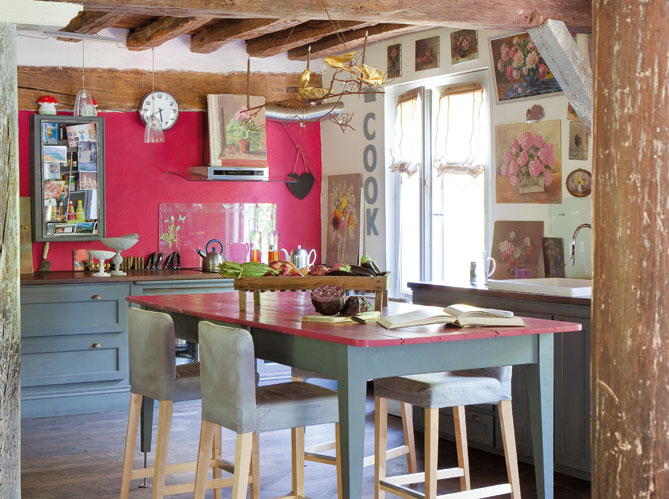 kitchen french provence design decorating with pink wall
