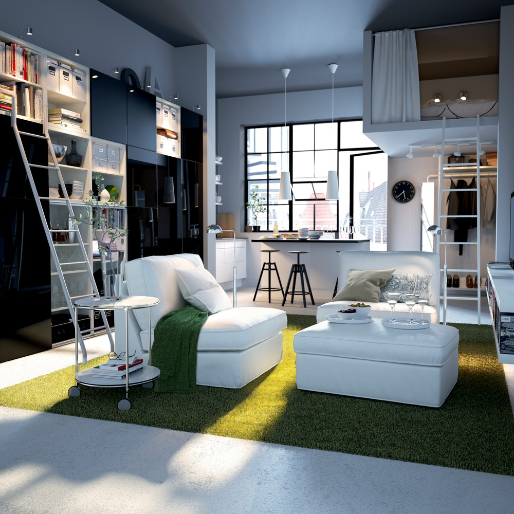 Interior decoration of a one-room apartment or a studio apartment 20