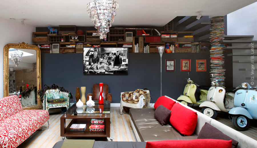 Rock n 39 roll eclectic attic loft by carlos pujol decoholic for Deco salon original