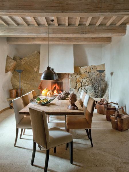 dining area and fireplace
