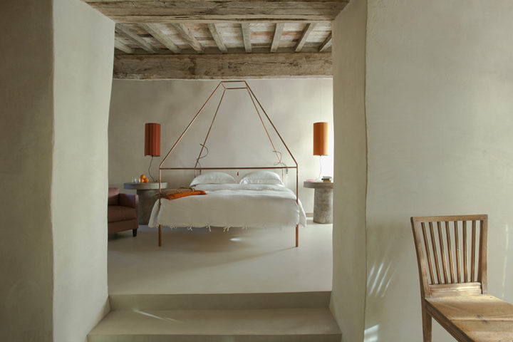 white bedroom in tuscan style