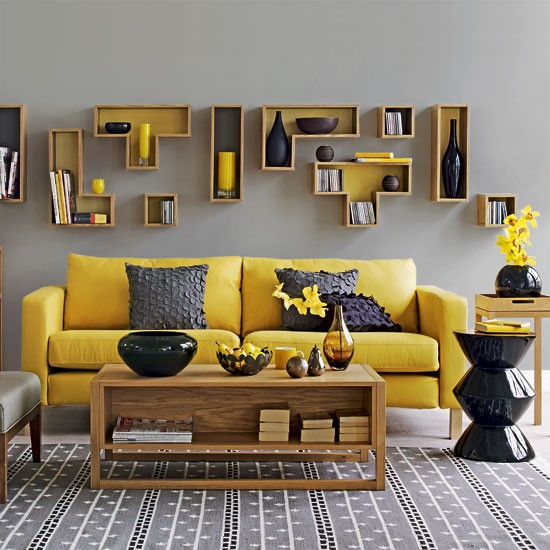 accent yellow color for gray living room
