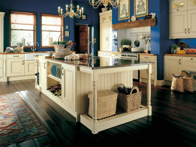 cream traditional kitchen with deep blue walls