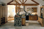traditional wood kitchen with stone