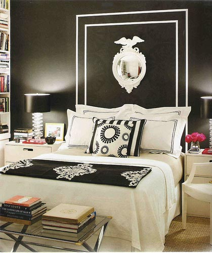 black and white bedroom with black wall