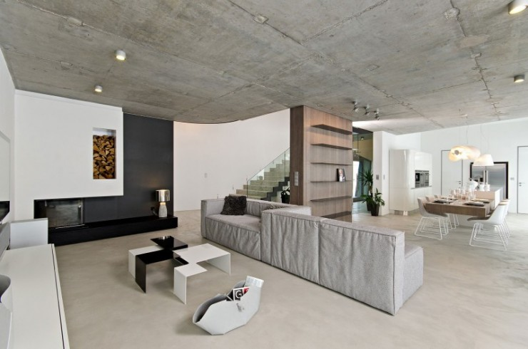 contemporary concrete home interiors by ooox2