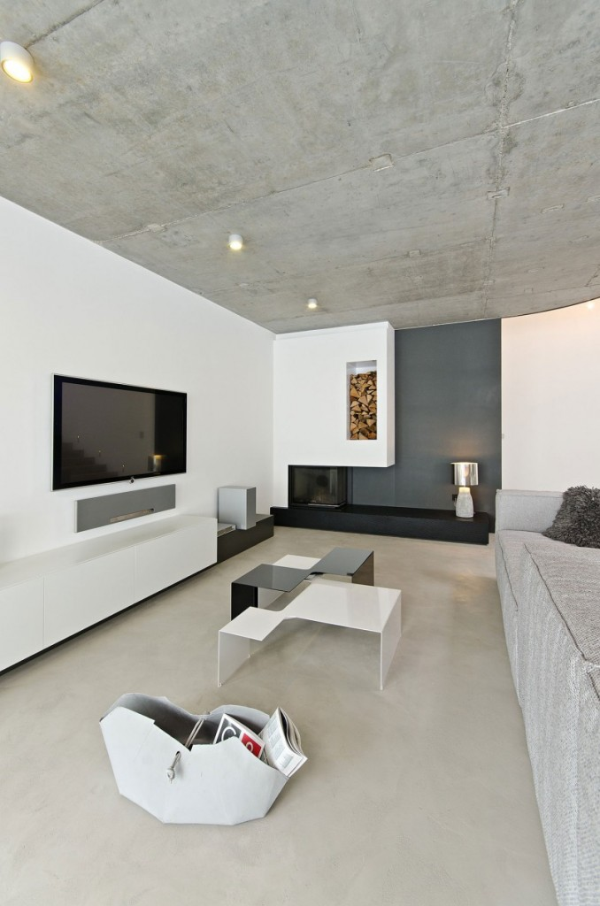 contemporary concrete home interiors by ooox3