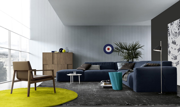 Daniel Deep Blue Contemporary Sofa