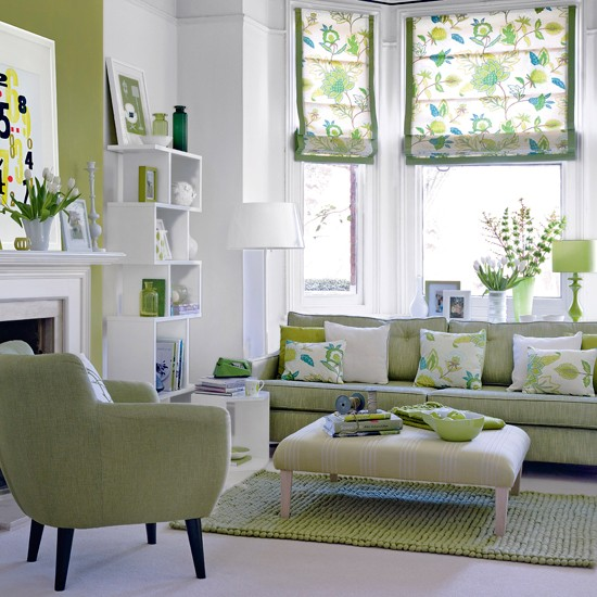 statement sofa in lime with a hint of mint green teamed with mix