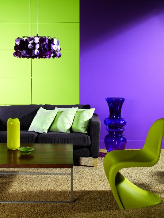 green and purple living room paint idea