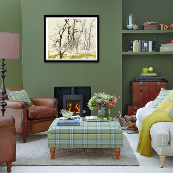 26 relaxing green living room ideas decoholic for Green and brown living room walls