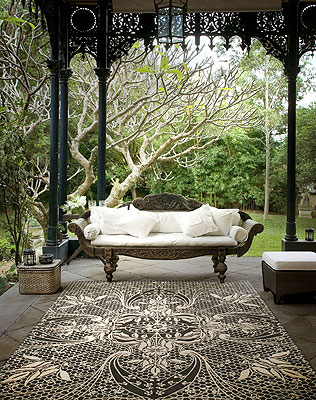 lace inspired modern black and white rug by Catherine Martin