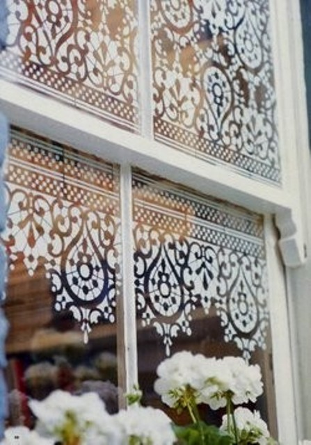 lace stenciled window decorating idea