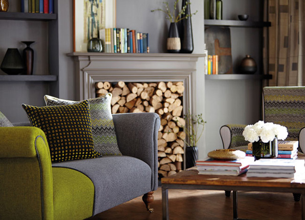 Lime Green And Gray Living Room By Harlequin