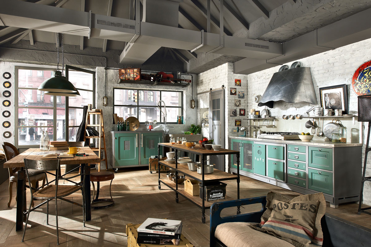 Industrial rustic apartment: exquisite metal chairs and wooden ...