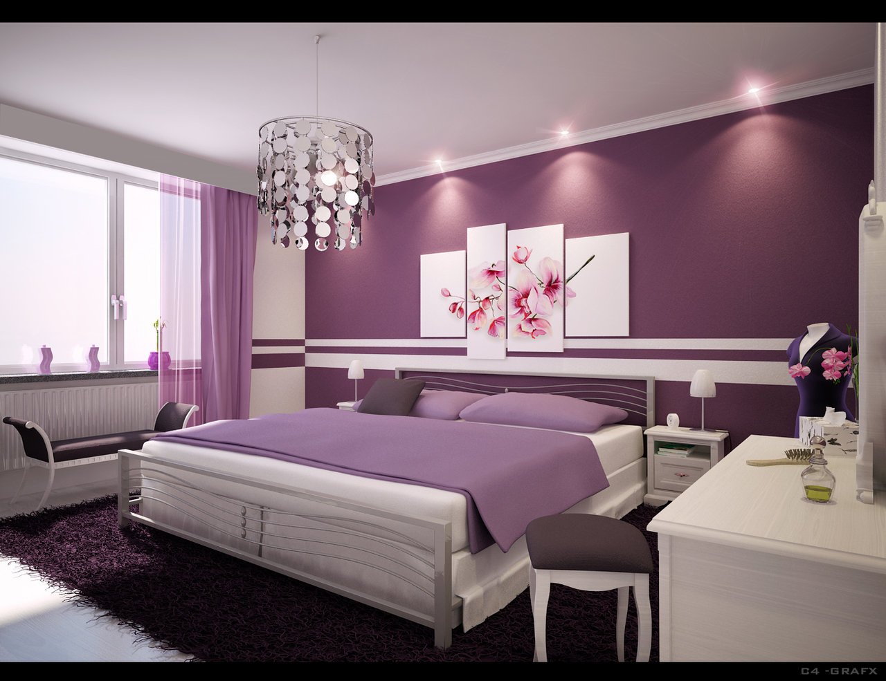 24 purple bedroom ideas decoholic for Purple and silver bedroom designs