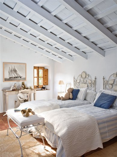 Mediterranean Comfortable Family Farmhouse kids room