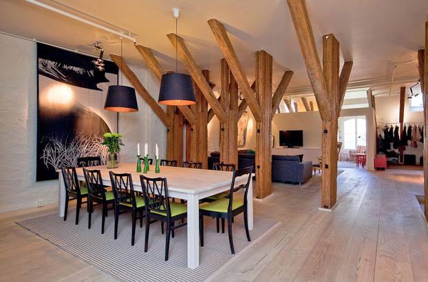 attic penthouse with beams